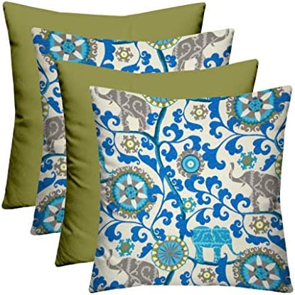 RSH D cor Indoor Outdoor Mixed Set – 4 Decorative Rectangular Lumbar Throw Pillows Made with Black and White Aztec Geometric Tommy Bahama Swaying Palms Aloe Green Palm Leaf Fabrics 20 W x 12 H