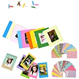 4 in 1 Colorful Bundle Kit Accessories for Fujifilm Instax Mini 9/8 Camera - Assorted Accessory Pack of Sticker Frames Plastic Desk Frame, Hanging Clips with String.