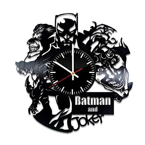 Batman Joker Vinyl Clock - Batman DC Comics Gotham City Vinyl Records Wall Art Room Decor Handmade Decoration Party Supplies Theme - Best Original Present Gift Idea - Vintage Modern Style