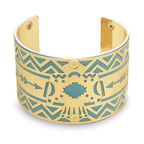 - RechicGu Gold Tribal Navajo Indian Eagle Turquoise Leather Arrow Aztec Zuni Bracelet Bangle Cuff