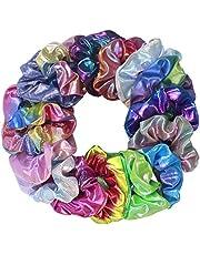 Shiny Metallic Hair Scrunchies, 16 Pcs Gradient Metallic Color Mermaid Scrunchy Hair Bow Elastics Ponytail Holder