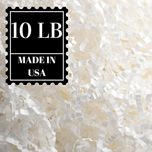 Crinkle Cut Paper Shred Filler for Packing and Filling Gift Baskets, Natural Craft Bedding in Brown Kraft Red Pink White Green Yellow Blue and White … (10 LB, White)
