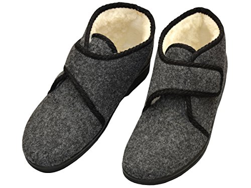 Bawal NEW Winter 2018! Men's Slippers Warm Boots with Zip | Felt&Wool | UK 3 4 5 6 Size Black with Grey details Model XR567M Grey- Velcro WDvtLMrGR