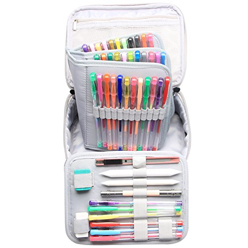 Teamoy Colored Pencils Case, Travel Gadget Bag with Handle and Shoulder Strap, Stylish and Multi-purpose, Perfect Size for Travel or Daily Use--NO Pencils included, Plum Flowers
