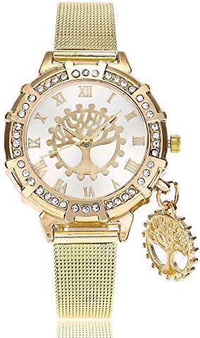 Mesdames Montre Nouvelle Ceinture en Maille Haut de Gamme Montre de Mode personnalisé Diamant Diamant souhaitant Arbre Pendentif Montre à Quartz Montre en Maille dorée Femme