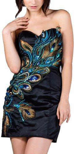 Meier Women's Strapless Peacock Embroidery Short Dress in Black