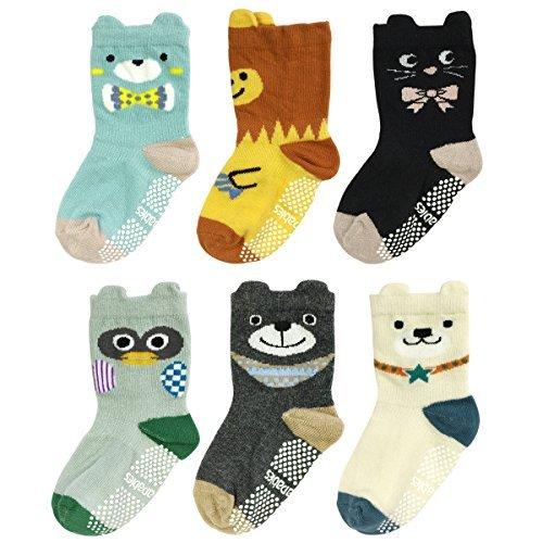 Peek A-boo Vi Bear - Wrapables Peek A Boo Animal Non-Skid Toddler Socks (Set of 6), Bears and Buddies (Small)