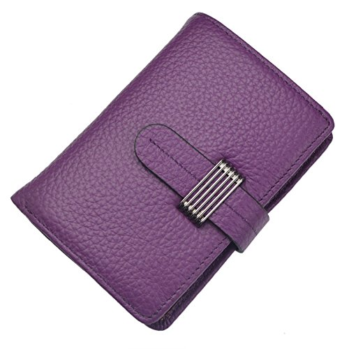 Bveyzi Women's RFID Blocking Security Leather Small Billfold Wallet (Purple) by Bveyzi