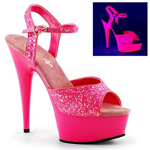 Pleaser Women's Delight-609 Ankle-Strap Sandal,Neon Hot Pink Glitter/Hot Pink,7 M US for $<!--$57.95-->