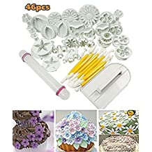 46pcs DIY Cake Decoration Mold Fondant Mould Set Tool Marzipan Icing Flower Modelling Tool Kit Baking Cutter Sugarcraft Trowel Knife Decorating Scissors Piping for Christmas Party Wedding