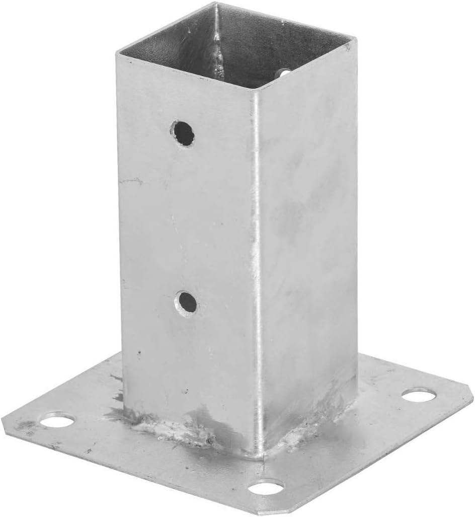 ADGO - Soporte para postes (80 x 80 mm, galvanizado, con pernos, para inmersión en caliente, soporte para suelo, funda deslizante, ancla de acero, color plateado: Amazon.es: Bricolaje y herramientas