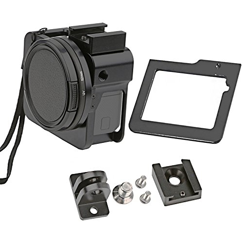 Gurmoir Aluminum Alloy Skeleton Housing Case Protective Metal Side Open Frame Mount with Rear Door for Gopro Hero 5 Action Camera (Aluminum Protective Case)