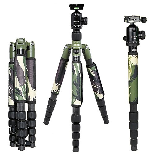 Andoer® 29MM Carbon Fiber Travel Tripod with Ball Head Camera Unipod Compact Monopod Camouflage for Canon Nikon Sony DSLR Camera by Andoer