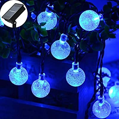 ApexPower 2 Packs Christmas Solar String Lights 30 LED 21ft 8Modes Waterproof Solar Powered Outdoor Bubble String Lights for Patio Lawn Garden Home Holiday Party Xmas Tree