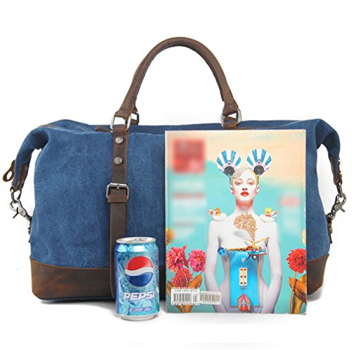 Holdall Weekend Handbag Duffle Satchel Crossbody Leather Default Shoulder amp; Bag Bag OD Organiser Quality Cotton Genuine Blue Mens Travel Womens Carry On Totes Canvas ca7qww0F