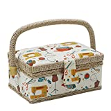 D&D Sewing Basket with Sewing Kit Accessories, Small Sewing Box for Kids, Sewing Theme White