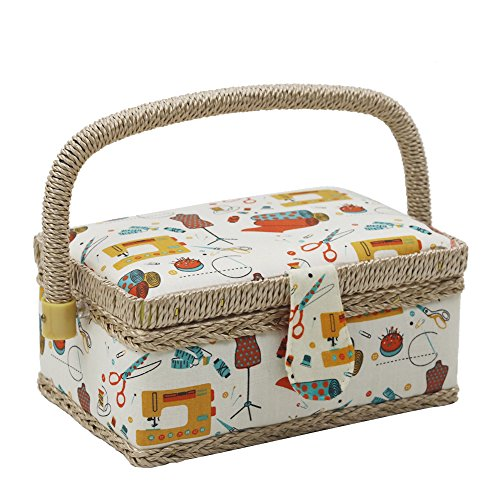 D&D Sewing Basket with Sewing Kit Accessories, Small Sewing Box with Mini Sewing Kit for Travel & Home (Beige)