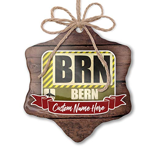 NEONBLOND Custom Family Ornament Airportcode BRN Bern Personalized Name