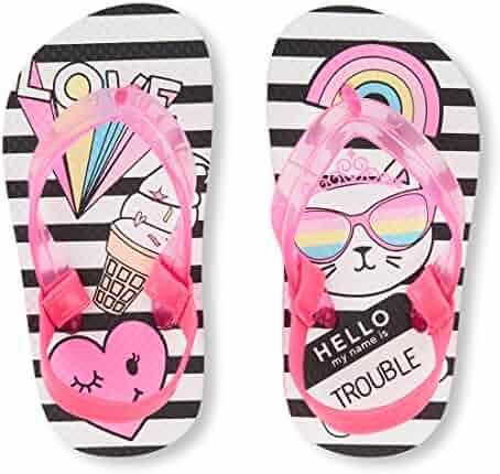The Children's Place Kids' TG Striped Cat F Flat Sandal