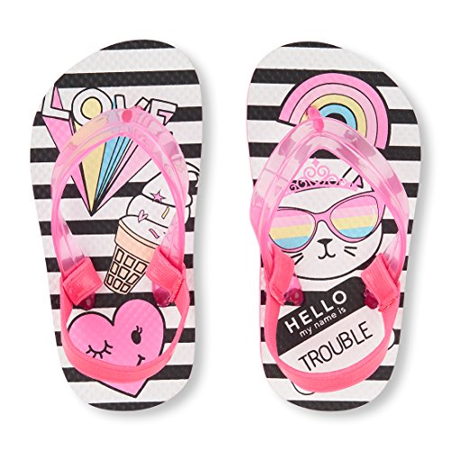 The Children's Place Girls' TG Striped Cat F Flat Sandal, Pink, TDDLR 8-9 Medium US Infant
