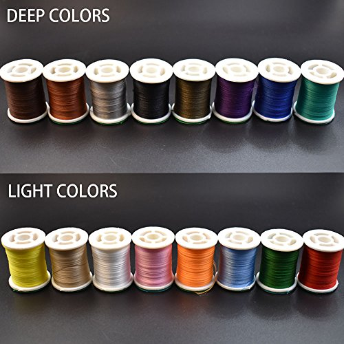 (Phecda Sport 16 Colors 150 Derniers Fly Tying Thread Lightly Waxed Multi Filament Yarn Fly Tying Materials (16 Spools Total (8 Light+8 Deep)))