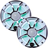 Wet Sounds REVO 6-XSW-SS White XS/Stainless Overlay Grill 6.5 Inch Marine LED Coaxial Speakers (pair)