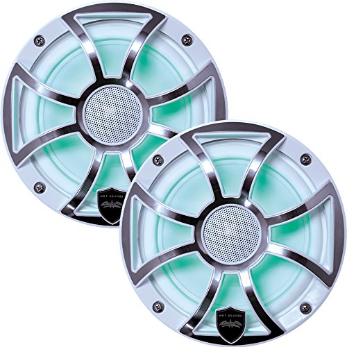 Wet Sounds REVO 6-XSW-SS White XS/Stainless Overlay Grill 6.5 Inch Marine LED Speakers (Pair) (Renewed)