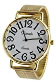 Unisex Gold Tone Super Large Face Stretch Band Easy to Read Watch