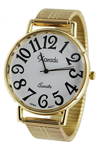 Face Watch Band Expansion (Unisex Gold Tone Super Large Face Stretch Band Easy to Read Watch)