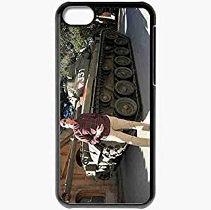 Personalized iPhone 5C Cell phone Case/Cover Skin Arnold schwarzenegger tank smoke actors Black