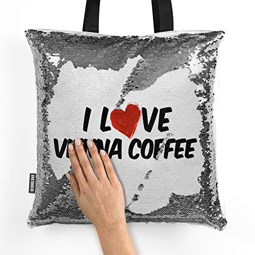 NEONBLOND Mermaid Tote Handbag I Love Vienna Coffee Reversible Sequin