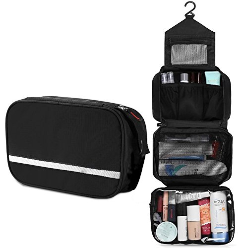 Casmas Travel Toiletry Bag Travel Accessories Bag Cosmetic Organizers with Hanging Hook Use in Bathroom or Hotel (Black) by Casmas