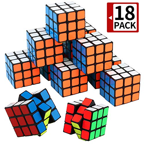 Mini Cube, Puzzle Party Toy(18 Pack), Eco-Friendly Material with Vivid Colors,Party Favor School Supplies Puzzle Game Set for Boy Girl Kid Child, Magic Cube Goody Bag Filler Birthday Gift ()