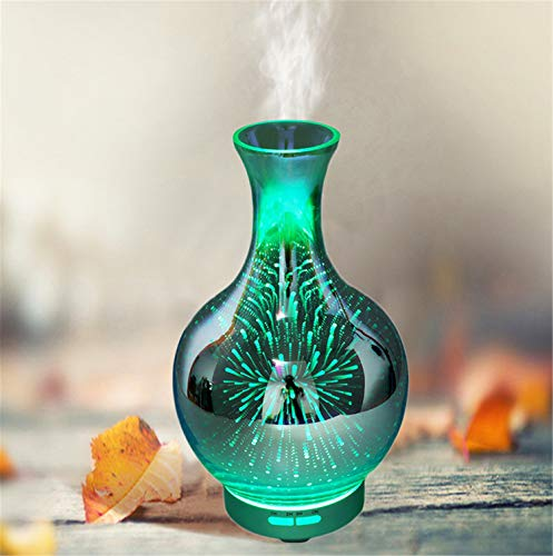 Essential Glass Vases Frosted (UNIQUE-F Silent Humidification Aromatherapy Machine Deep 3D Glass Essential Oil Atomization Colorful Light Diffuser Exquisite Vase)