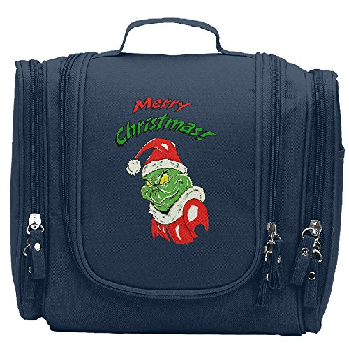 Travel Toiletry Bags Grinch Christmas Story Clipart Washable Bathroom Storage Hanging Cosmetic/Grooming Bag For Household Business Vacation, Multi Compartments, Waterproof Lining
