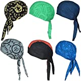 Cotton Bandanas / Dew Rag / Skull Cap / Cycling Cap /Beanie /Adjustable Hat/Head Scarf /Chemo Cap / Fits under Helmets. Perfect for Running, Motorcycling,Biking, Football,Pack of 6