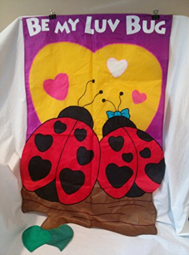 Ladybugs Flag Banner (Be My Luv Bug Garden Flag, Ladybug Garden Flag, Valentines Garden Flag 28 inches x 48 inches)