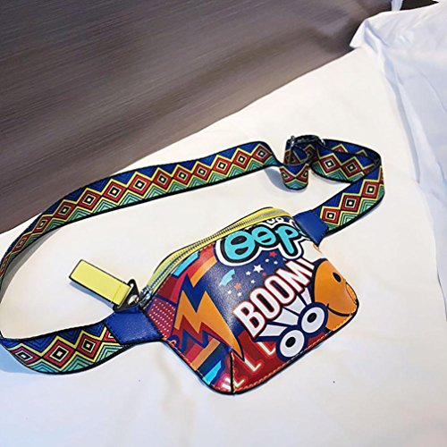 graffiti Messenger strap wide shoulder printed Women shoulder chest EUzeo bag bag Yellow wHzxZIqCz