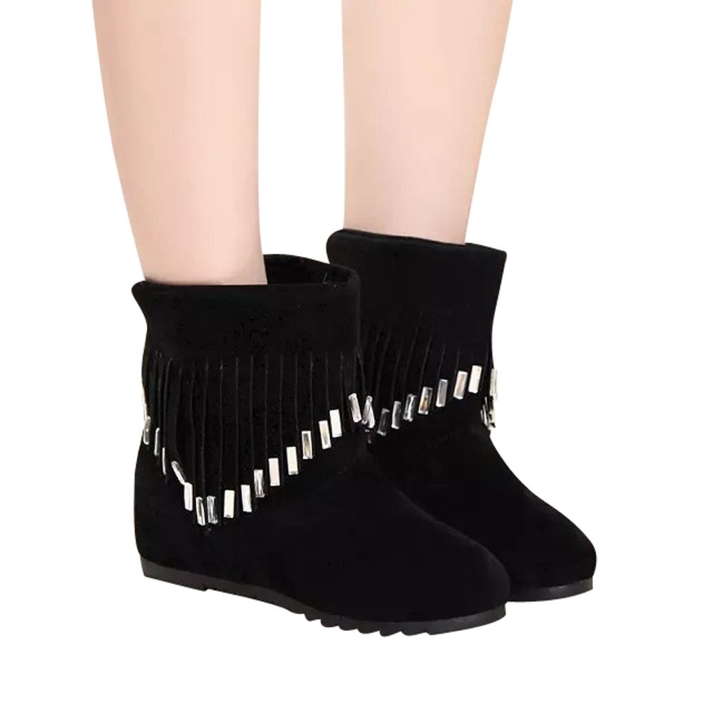 BootsFor Womens -Clearance Sale ,Farjing Women Boots Flat Low Slip-On Tassel Ankle Boots Casual Shoes Martin Boots(US:7.5,Black)