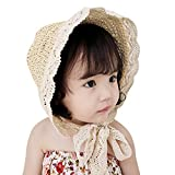 Fairy Wings Baby Grils Breathable Straw Hat Palace Hat for Summer, Beige