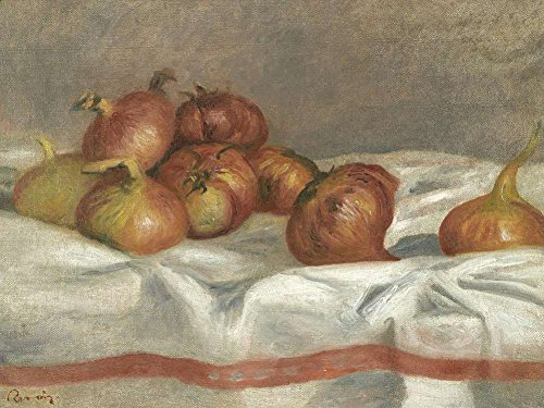 (JH Lacrocon Pierre-Auguste Renoir - Still Life with Onions and Tomatoes Canvas Wall Art Rolled 55X40 cm (Approx. 22X16 inch) - Still Life Fruits Paintings Reproductions Prints)