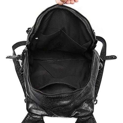 Gewaschenes Leder Rucksack Schwarz Lässige Tasche