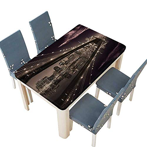 PINAFORE Polyester Brooklyn Bridge Sunset New York Manhattan Skyline Tourist Attraction Modern City Picture B Spillproof Fabric Tablecloth W25.5 x L65 INCH (Elastic Edge) -
