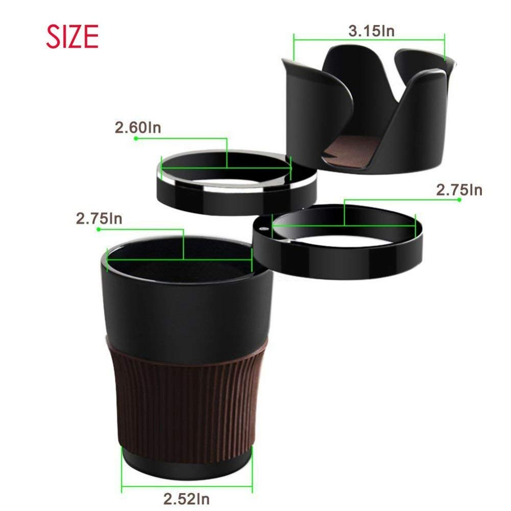 ZBLighting Car Cup Holder 360/º Rotatable Adjustable 5 in 1 Multifunctional Auto Car Cup Phone Drink Keys Mug Sunglass Organizer Bottle Holder Little Stuff Storage Cup Brown