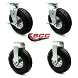10'' Pneumatic Caster Set of 4-2 Swivel with Brakes/2 Rigid - Black Rubber Wheel - 1,400 lbs. Capacity - Service Caster Brand