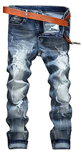 YTD Mens Distressed Ripped Biker Slim Jeans Stretched Moto Denim Pants (W36(Tag 38), R-Grey)