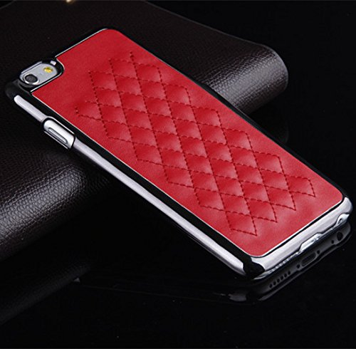 iPhone 6 Case, [Elegant Series] Luxurious Quilted Pattern Lamb Skin Leather Chrome Case for Apple iPhone 6 4.7 inch (Red)