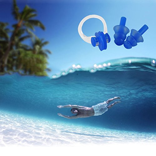 3 Sets Swimming Nose Clips and Earplugs Soft Silicone Waterproof Water Sports Set Tool Box Package (Pink & orange & Blue)