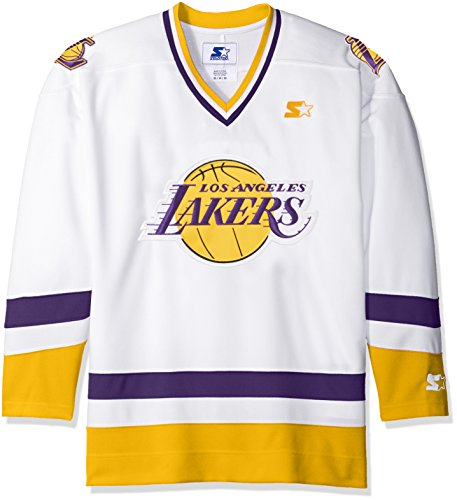 STARTER NBA Los Angeles Lakers Hockey Inspired Fashion Jersey, X-Large, White