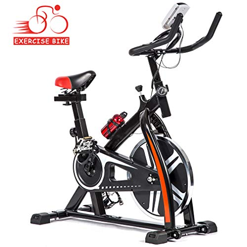 Exercise Bike Recumbent Spin Cycling Bike Indoor Cycle Stationary Workout Equipment with Pulse W/LED Display and Adjustable Foot for Home Office